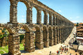 The famous ancient aqueduct in Segovia, Spain Royalty Free Stock Photo