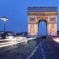 Famous Arc de Triomphe by night Royalty Free Stock Image