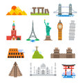 Famous architecture world travel vector landmarks icons