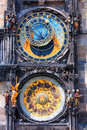 Famous astronomical clock orloj in prague with chimes and sculptures Stock Images