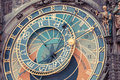 Famous astronomical clock in prague Stock Image