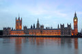 Famous and beautiful evening view to big ben and the house of pa parliament with thames Royalty Free Stock Image