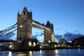 Famous and Beautiful Evening View of Tower Bridge, London, UK Royalty Free Stock Photo