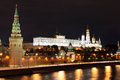Famous and beautiful night view of moskva river and moscow kreml kremlin palace churches in the summer russia Royalty Free Stock Image
