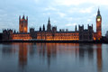 Famous and beautiful night view to big ben and houses of parliam parliament with thames uk Royalty Free Stock Image