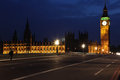 Famous and beautiful night view to big ben and houses of parliam parliament from westminster bridge london uk Royalty Free Stock Photos
