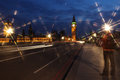 Famous and beautiful night view to big ben and houses of parliam parliament from westminster bridge london uk Stock Image
