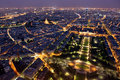 Famous and Beautiful night view to Paris from the Eiffel Tower Royalty Free Stock Photo