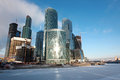 Famous and beautiful view skyscrapers city international busine business center with frozen moskva river moscow russia Stock Photography