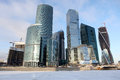 Famous and beautiful view skyscrapers city international busine business center with frozen moskva river moscow russia Royalty Free Stock Photos
