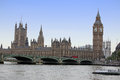 Famous and beautiful view to big ben and houses of parliament wi with thameas westminster bridge london uk Stock Images