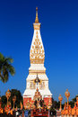 The famous big pagoda of thailand on blue sky background Stock Photography