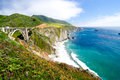 The famous bixby bridge on california state route most photographed along pacific coast Royalty Free Stock Image
