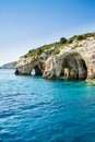 Famous blue caves view on zakynthos island greece with crystal clear waters Stock Photography