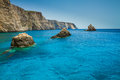 Famous blue caves view on zakynthos island greece with crystal clear waters Royalty Free Stock Images