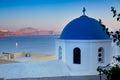 Famous blue domes of the churches on Santorini Island. Santorini Greece