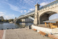 The famous bridge and granite embankment of the Moscow River on a clear sunny day Royalty Free Stock Photo