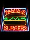 Famous Burger Neon Sign Stock Image