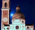 Famous cathedral at night with blue moon light in italy Royalty Free Stock Photos