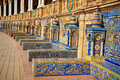 Famous ceramic benches in plaza de espana seville spain avila theme art Stock Image