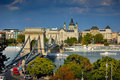 The famous Chain bridge in Budapest Royalty Free Stock Photo