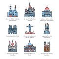 Famous Christian churches and cathedrals icons Royalty Free Stock Photo