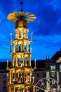 Famous Christmas pyramid carousel on the Altmarkt Christmas market in Dresden Royalty Free Stock Photo