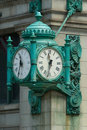 Famous Clock in Downtown Chicago on State Street, USA Royalty Free Stock Photo