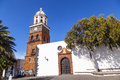 Famous clock tower and church of nuestra senora de guadalupe in teguise lanzarote Royalty Free Stock Photos
