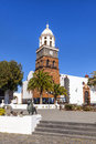 Famous clock tower and church of nuestra senora de guadalupe in teguise lanzarote Stock Image