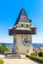 Famous Clock Tower in Graz, Austria Royalty Free Stock Images