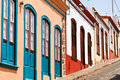 Famous colored houses in La Palma Stock Photography