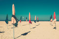 The famous colorful parasols on Deauville beach Royalty Free Stock Photo