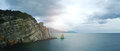 The famous Crimean view of the rock sail close to the Swallow`s nest castle Royalty Free Stock Photo
