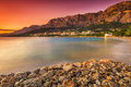 The famous croatian riviera at sunset makarska dalmatia croatia magical over beach Stock Images