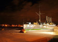 Famous cruiser Aurora at night Royalty Free Stock Photo