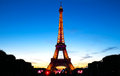 Famous Eiffel Tower during celebrations of French national holiday - Bastille Day. Royalty Free Stock Photo
