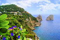 Famous faraglioni rocks off island capri italy Royalty Free Stock Images