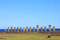 The famous fifteen moai at ahu tongariki easter island chile Royalty Free Stock Image
