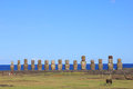 The famous fifteen moai at ahu tongariki easter island chile Royalty Free Stock Photos