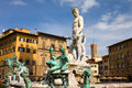 The famous fountain of Neptune by Bartolomeo Ammannati in the Piazza della Signoria Royalty Free Stock Photo