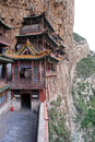 Famous hanging monastery in Shanxi Province near Datong, China, Royalty Free Stock Images
