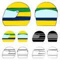 Famous helmet. Brazilian colors flag. Royalty Free Stock Photo