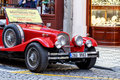 Famous historic red car praga prague czech republic march th in prague street is a manufacturing company founded in based in Stock Image