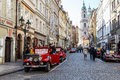 Famous historic red car praga prague czech republic march th in prague street is a manufacturing company founded in based in Royalty Free Stock Photo