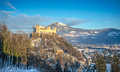 Famous Hohensalzburg Fortress at sunset in winter, Salzburg, Austria Royalty Free Stock Photo