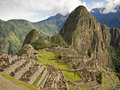 Famous inca city machu picchu the ruins of the in the sacred urubamba valley near cuzco in peru with huayna mountain in the Royalty Free Stock Photography