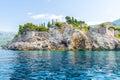 The famous island of Sveti Stefan in Adriatic sea near Budva. Montenegro Royalty Free Stock Photo