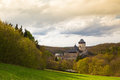 Famous Karlstejn castle  in autumn forest,Czech Republic Royalty Free Stock Photo