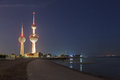 The famous kuwait towers dec arabian gulf beach and city middle east Stock Photos